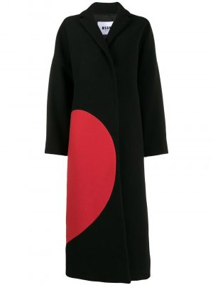 MSGM 99 wool Coat with Heart Black/Red