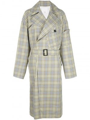 Tibi Checked Trench Coat Green