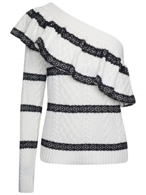 Self-Portrait Stripe One Shoulder Jumper White/Black