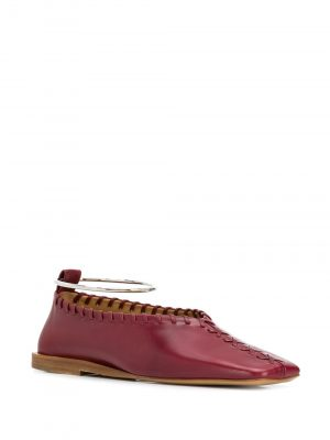 Jil Sander Ankle Ring Ballerinas Dark Red