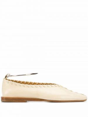 Jil Sander Metal Ankle Leather Flat Light Beige
