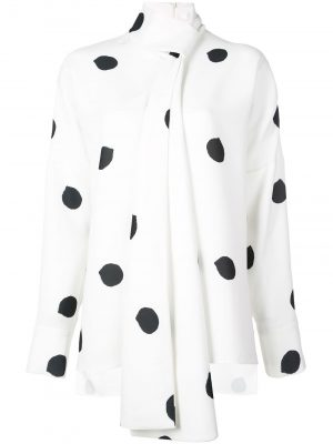 Tibi Top Dot tie neck White/black