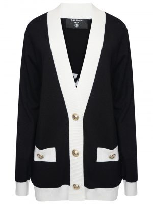 Balmain Wool Cardigan Black