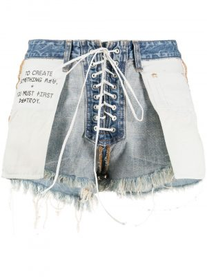 Unravel Project UWYC011R20DEN0014501 Laceup Shorts Blue