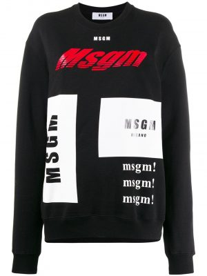 MSGM NECK SWEATSHIRT WITH MULTILOGO PRINT