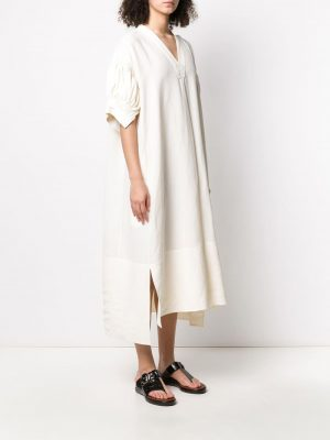 Jil Sander V-neck Dress White
