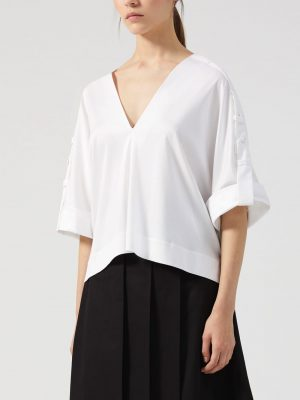 Sportmax MEDEA V-Neck Top White