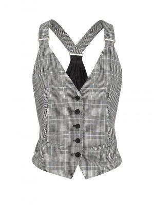 MaxMara MURIEL Checked Vest Black/White