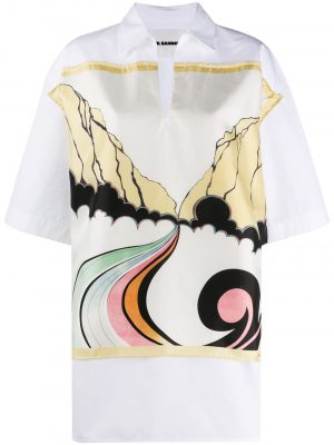 Jil Sander V neck shirt dress White