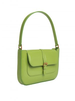 By Far MIRANDA Semi Patent Handbag Lime