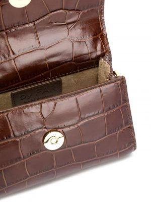 By Far CROCO Embossed Mini Bag Chestnut