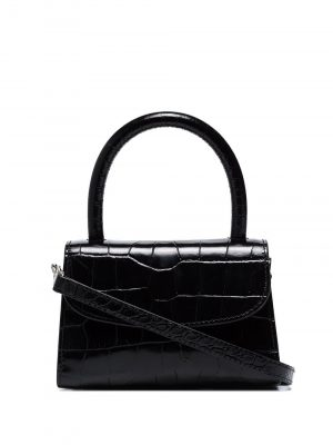 By Far CROCO Embossed Mini Bag Black
