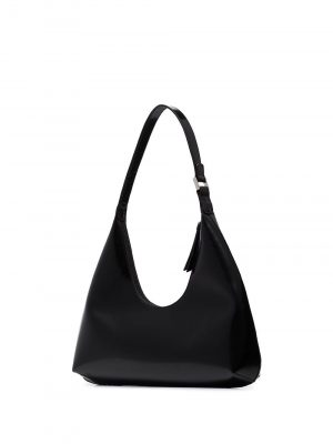 By Far AMBER Semi Patent Shoulder Bag Black