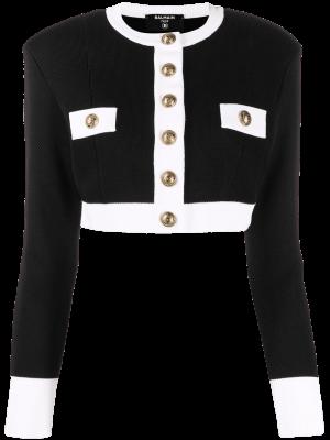 Balmain cropped two-tone jacket