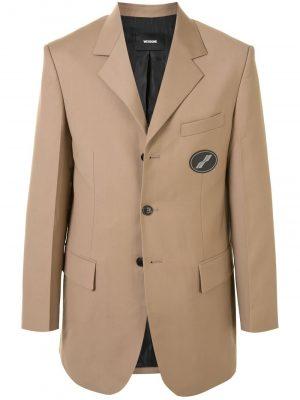 We11Done Beige suit logo Blazer WD-JK4-20-038-U-BG