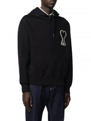 ami 20FW A20HJ057.747 Hoodie With Ami De Coeur Logo Black