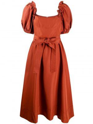 Self-Portrait Rust Taffeta Midi Dress