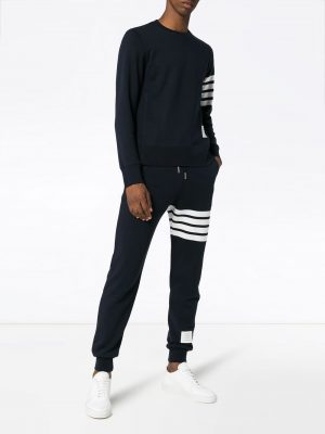 Thom Browne Unisex 20FW MJQ008H 00535 461 4 bar Knit Sweatpants Navy