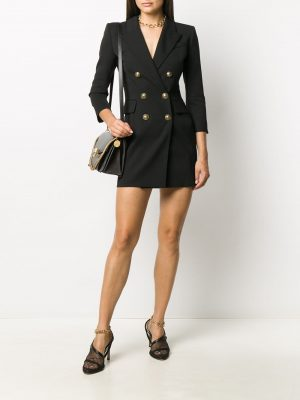 Balmain Embossed-Button Double Breasted Dress