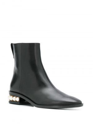Nicholas Kirkwood 20FW 903A52VLS2 N99 Casati Pearl zip Boots 30mm Black