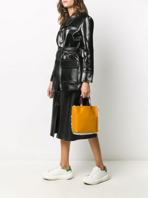 Marni sherling panelled tote bag