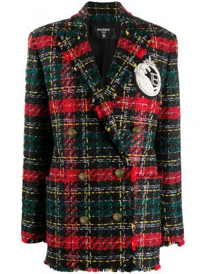 Balmain check oversized blazer