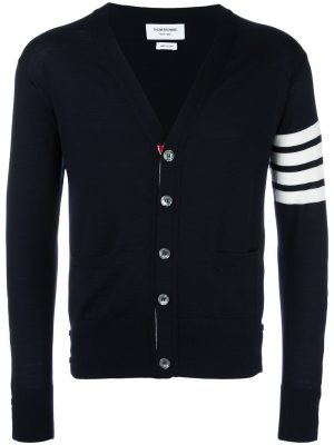 Thom Browne 20FW MKC002A 00014 415 V neck 4bar wool Cardigan Navy