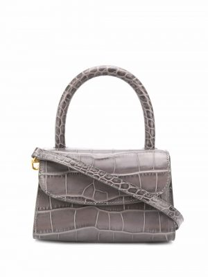 By Far SS21 21CRMINAPSDSMA CROCO embossed leather mini bag grey