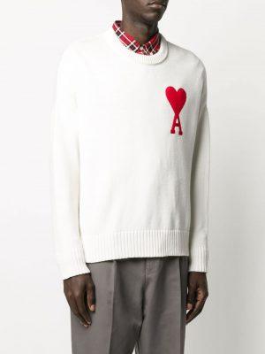 Ami 20FW A20HK009.006 100 Crewneck Oversize Sweater White