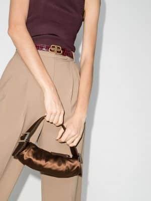 By Far 20FW 20FWKUSCGSMED KUBI silk shoulder bag brown