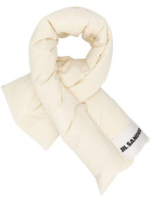 Jil Sander padded logo patch scarf