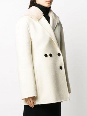 Jil Sander oversized faux-fur lapel coat
