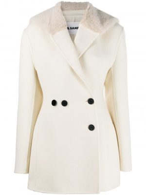 Jil Sander oversized faux-fur lapel coat