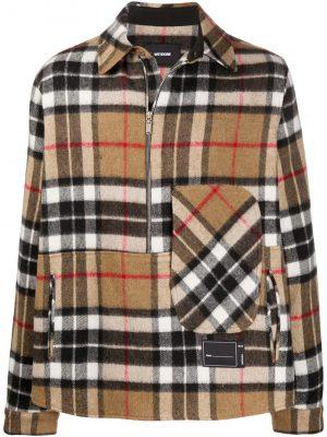 We11Done checked half-zip shirt