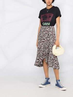 GANNI floral-print logo T-shirt