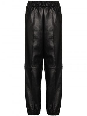 GANNI leather tapered-fit trousers