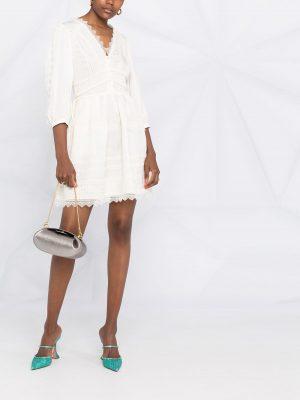 SELF-PORTRAIT lace trimmed mini dress