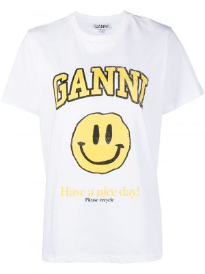 GANNI smiley-face print logo T-shirt