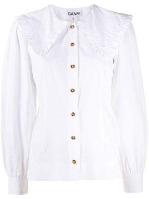 GANNI oversized-collar buttoned blouse