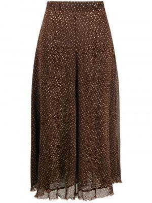 GANNI polka dot pleated midi skirt