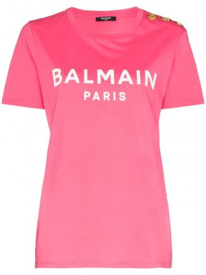 Balmain button-detail logo T-shirt