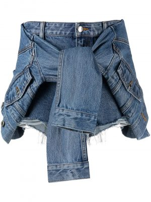 Alexander Wang tie front denim shorts