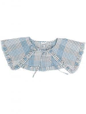GANNI SS21 A3190 Seersucker Check Collar Blue
