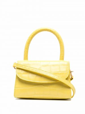 By Far SS21 21CRMINACUSDSMA  Mini Croco Embossed Bag Custard