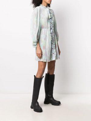 GANNI puff-sleeve mini dress