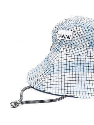 GANNI check-pattern bucket hat