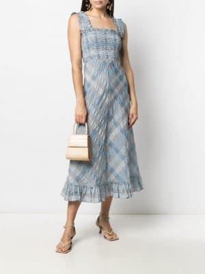 GANNI Seersucker maxi dress