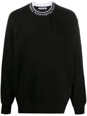 Acne Studios SS21 BI0078-9001 Logo Rib Sweatshirt Black