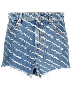 Alexander Wang logo print denim shorts