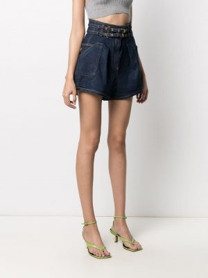 Philosophy high rise belted denim shorts